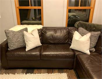 West Elm Leather Sectional Sofa