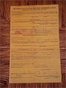 """1949 Willys Jeep 1/2 Ton Pickup Truck """"CERTIFICATE OF TITLE"""" (Ohio)"""